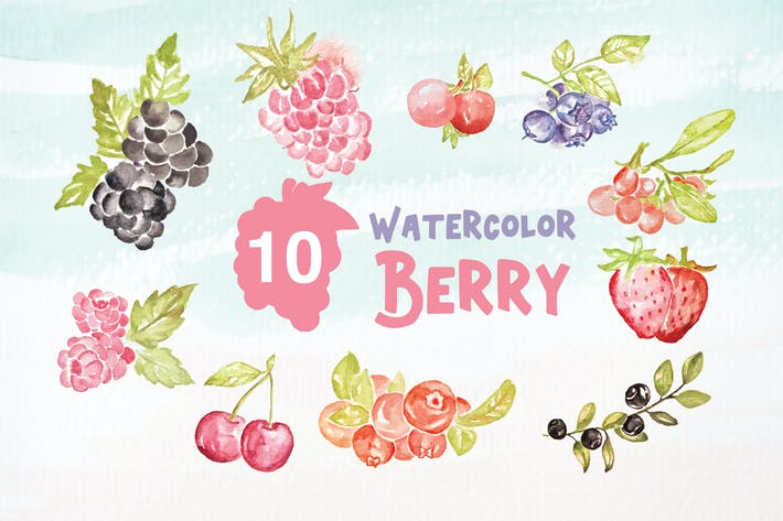 Thumbnail for 10 Watercolor Berry Illustration Graphics