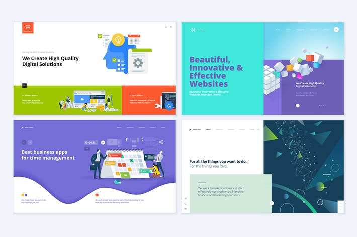 Cover Image For Set of creative website template designs