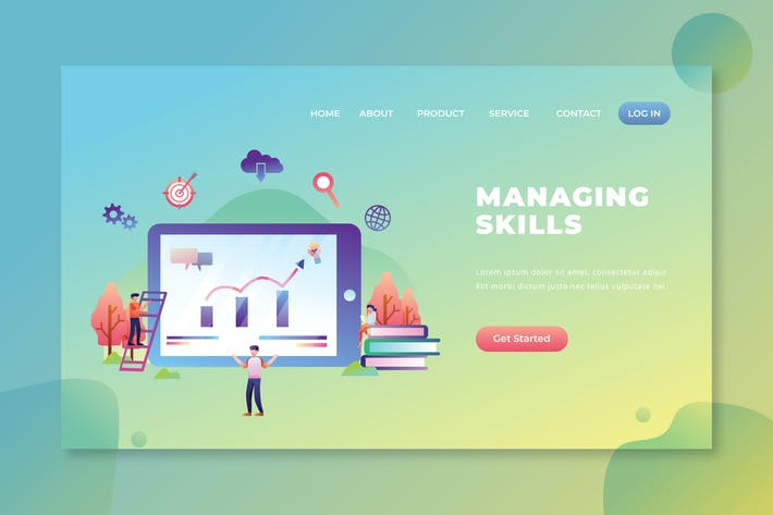 Thumbnail for Managing Skills - PSD and AI Vector Landing Page