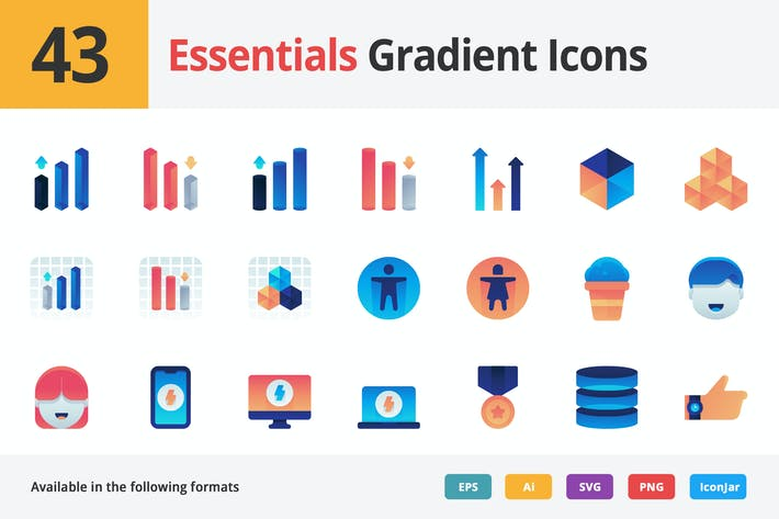 Thumbnail for Essentials Vector Gradient Icons