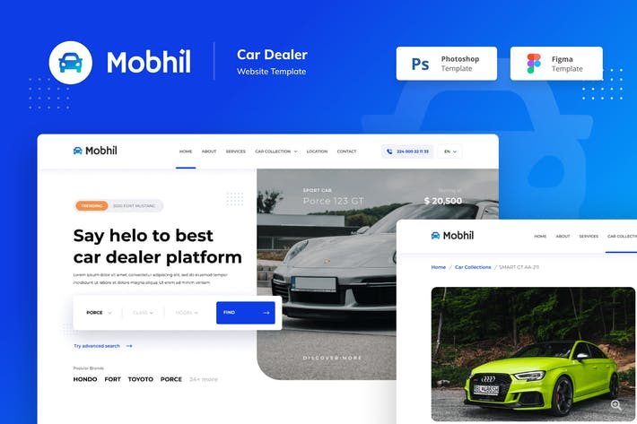 Thumbnail for Mobhil Car Dealer Website Figma PSD Template