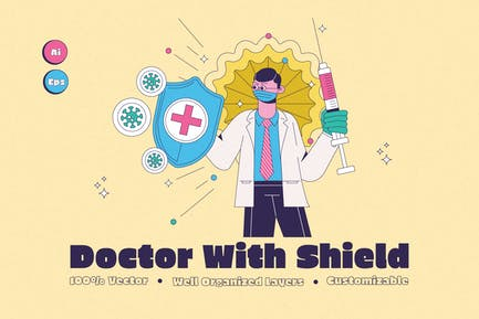 Doctor With Shield Illustration