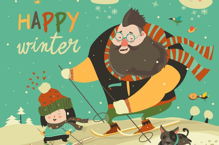 Thumbnail for happy father and daughter skiing in snow mountain.