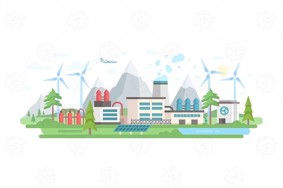 Umweltfreundliche Pflanze - flaches Design Illustration