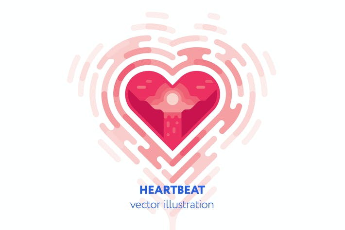 Cover Image For Heartbeat vector illustration