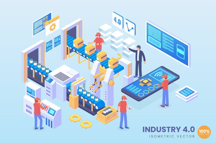 Thumbnail for Isometric industry 4.0 Vector Concept