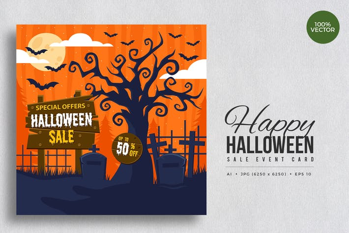 Cover Image For Happy Halloween Sale Vector Card Vol.2