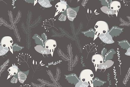 Вектор бесшовный узор с милыми птицами скелета