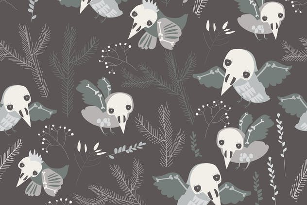 Vector seamless pattern with cute skeleton birds