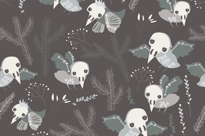 Thumbnail for Vector seamless pattern with cute skeleton birds