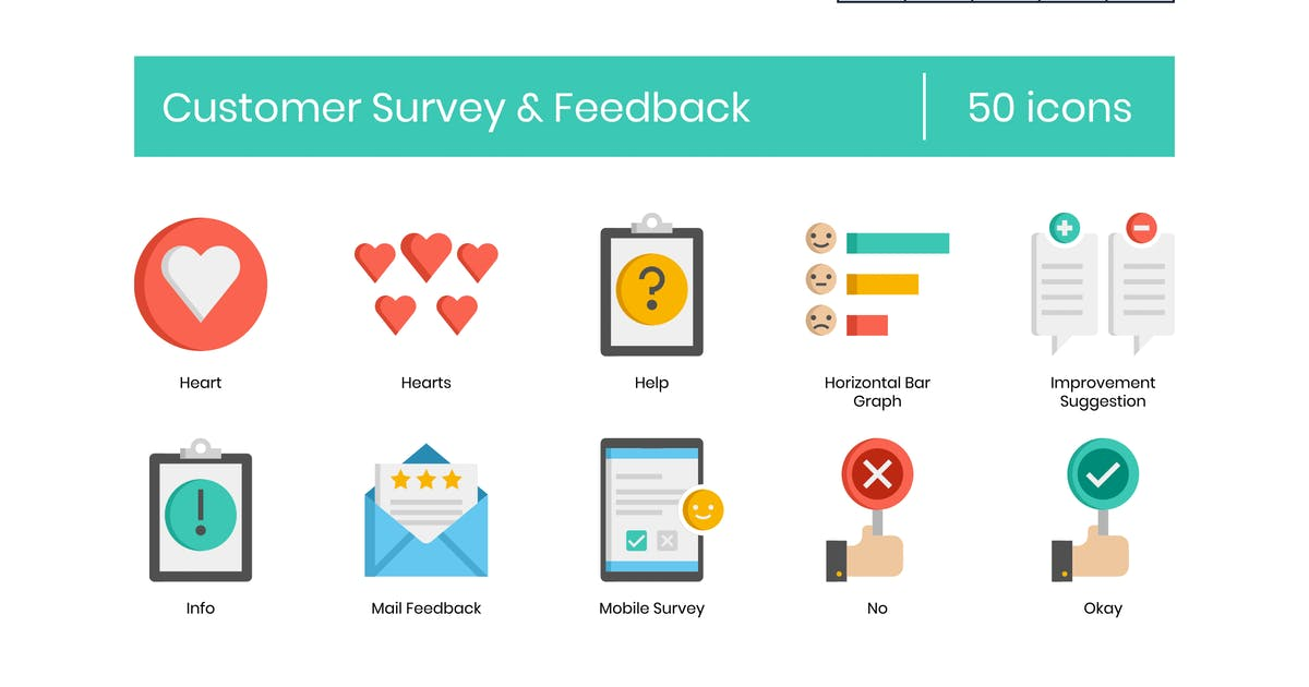 Download 50 Customer Survey & Feedback Icons - Pasteline Se by Krafted