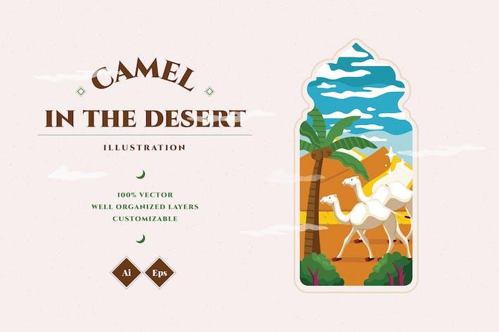 Верблюд в десерте Иллюстрация