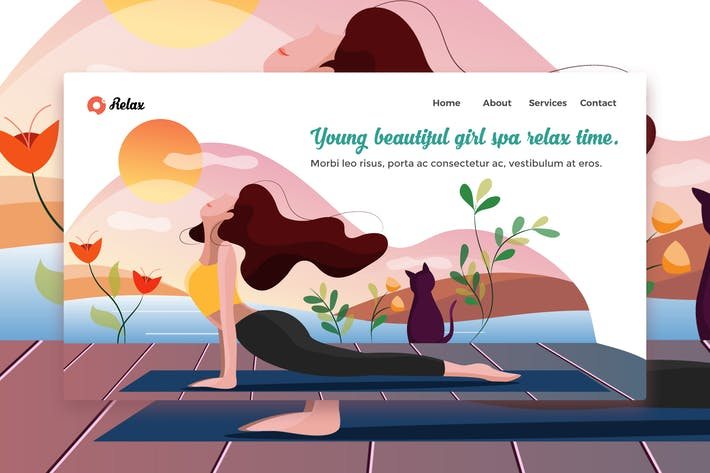 Thumbnail for Young Beautiful Girl Spa web template Landing Page