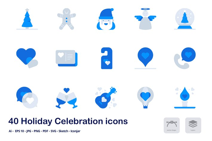 Thumbnail for Holiday Celebration Accent Duo Tone Icons