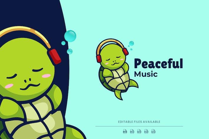 Peaceful Turtle Cartoon Logo