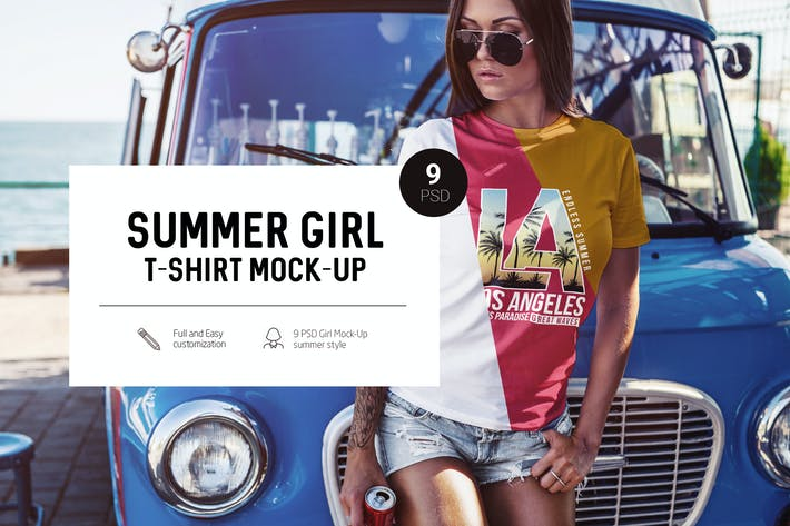 Thumbnail for Summer Girl T-Shirt Mock-Up