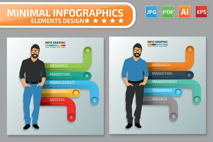 Thumbnail for Minimal Businessman Infographics Design