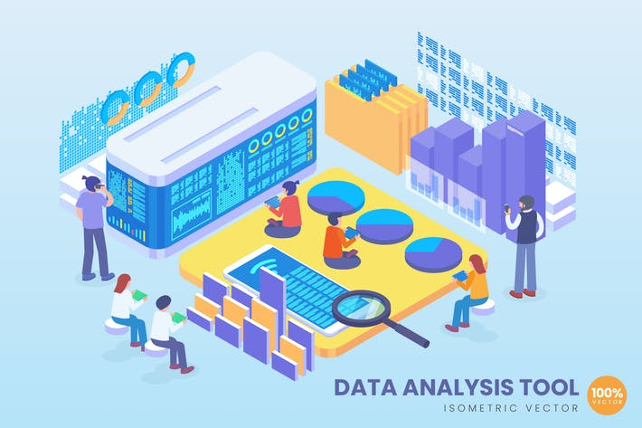 Thumbnail for Isometric Data Analysis Tool Vector Concept