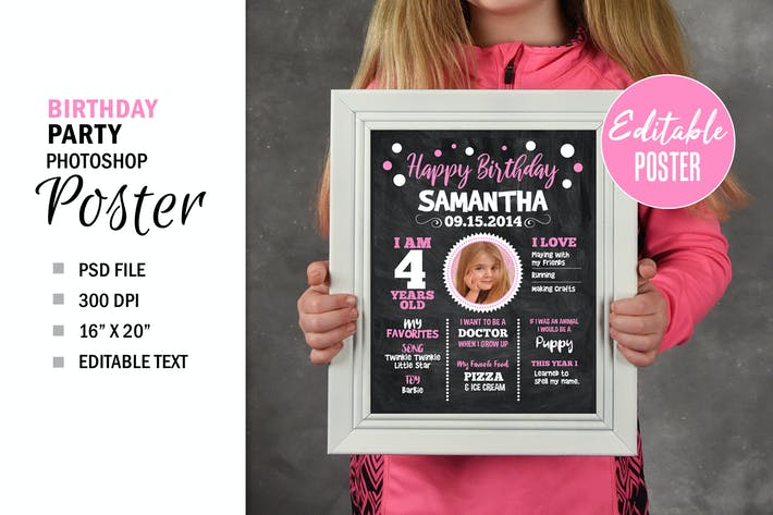 Birthday Chalkboard Party Sign Poster