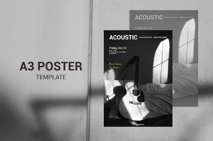 Thumbnail for Acoustic Music - A3 Poster Template