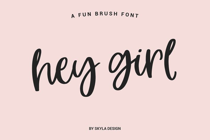 Thumbnail for Fun smooth brush font, Hey Girl