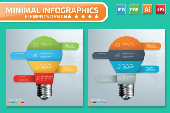 Thumbnail for Minimal Light bulb Infographics Design