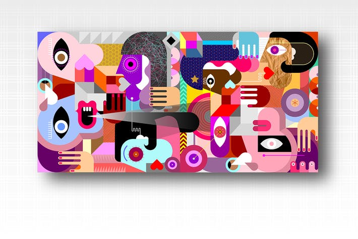 Thumbnail for Abstract Geometric Style Group of People vector