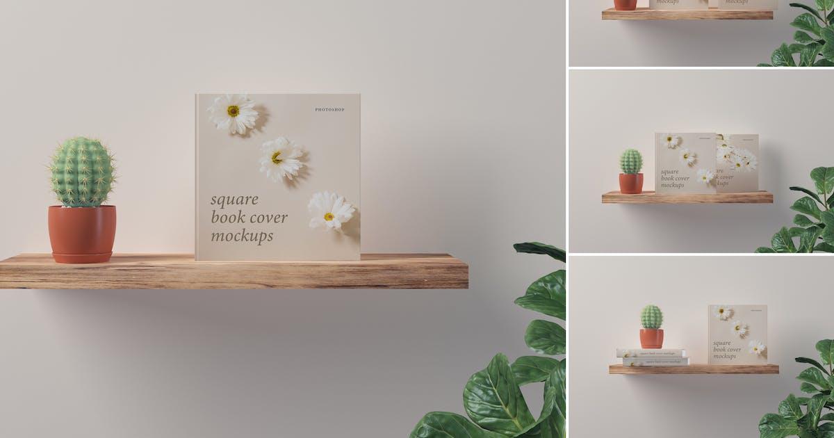 Download Square Book Cover Mockups by artimasa_studio
