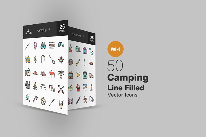 Thumbnail for 50 Camping Line Filled Icons