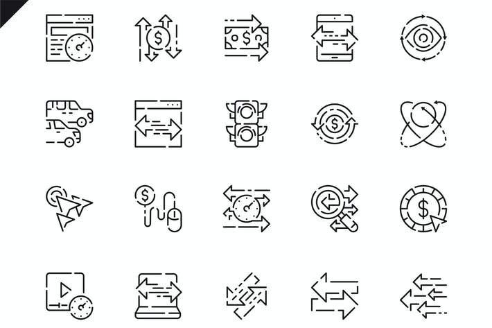 Thumbnail for Simple Set Traffic Line Icons