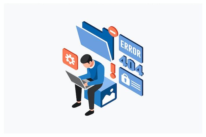 Thumbnail for Isometric Error System Laptop Vector Illustration