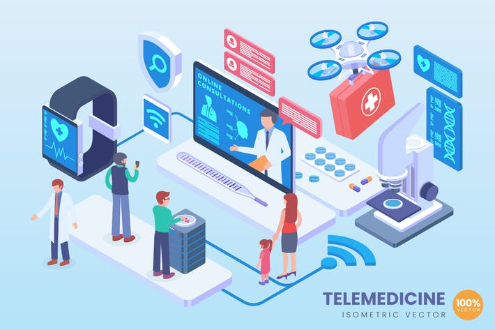 Thumbnail for Isometric Telemedicine Vector Concept