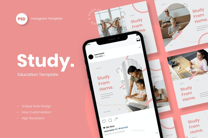 Study From Home - Educate Instagram Post Template
