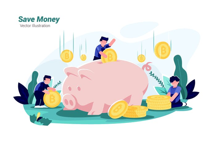 Cover Image For Save Money - Vector Illustration