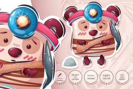 Teddy bear works in the mine - seamless pattern