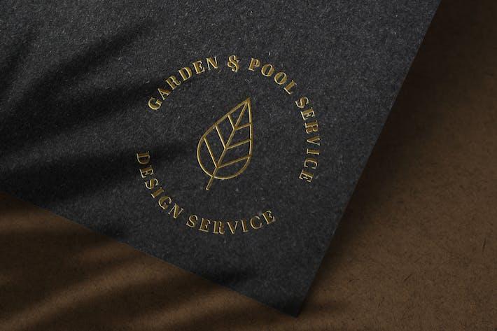 Thumbnail for Luxuriöses Gold Logo Mockup auf schwarzem Papier Textur