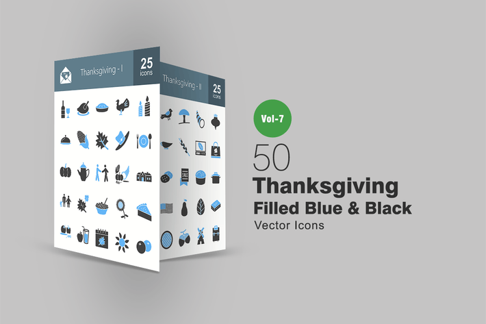 Thumbnail for 50 Thanksgiving Blue & Black Icons