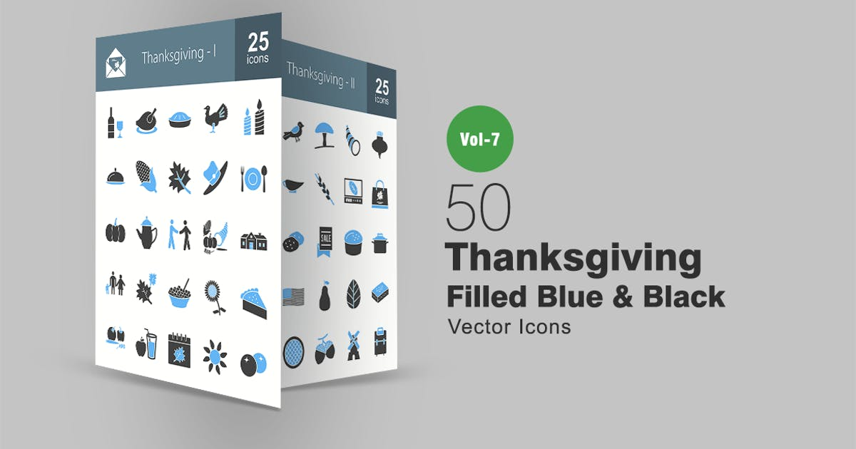 50 Thanksgiving Blue & Black Icons by IconBunny