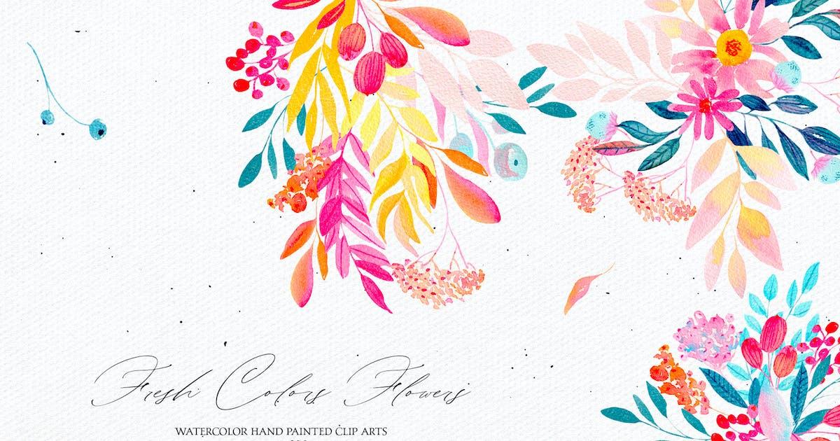 Download Fresh Colors Flowers - watercolor set by Webvilla