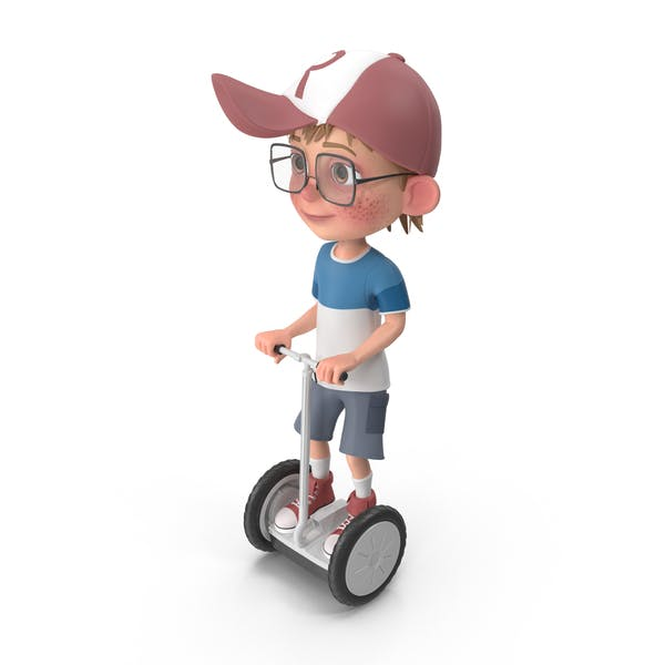 Cartoon Boy Harry Riding Scooter