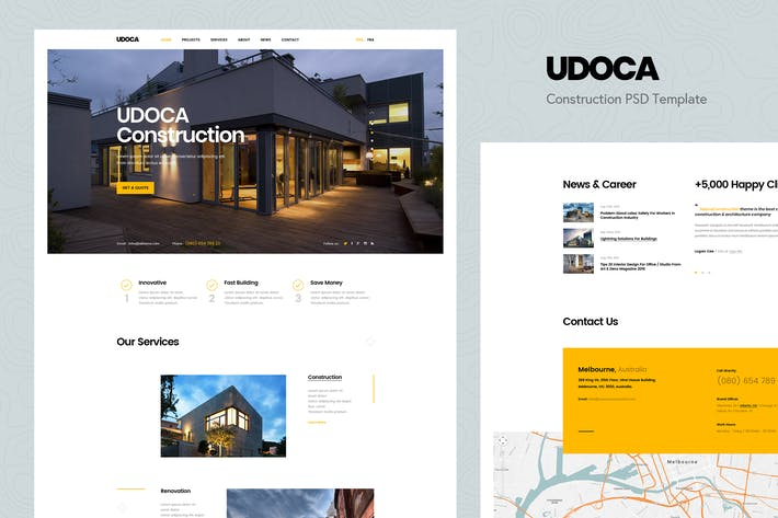 Thumbnail for Udoca - Building & Construction PSD Template