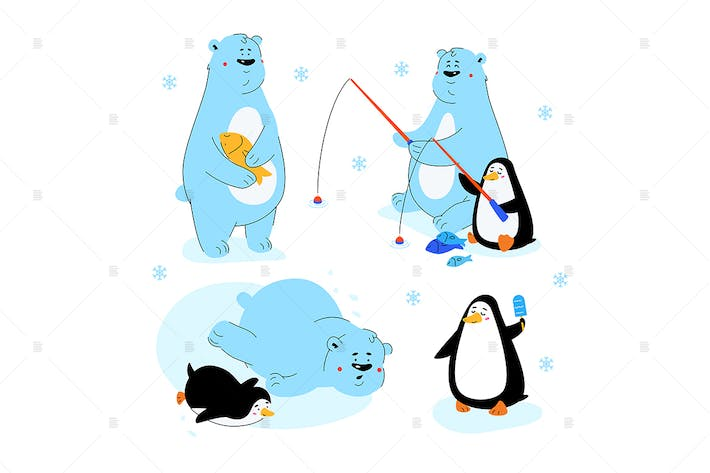 Thumbnail for Polar bear and penguin - flat design characters