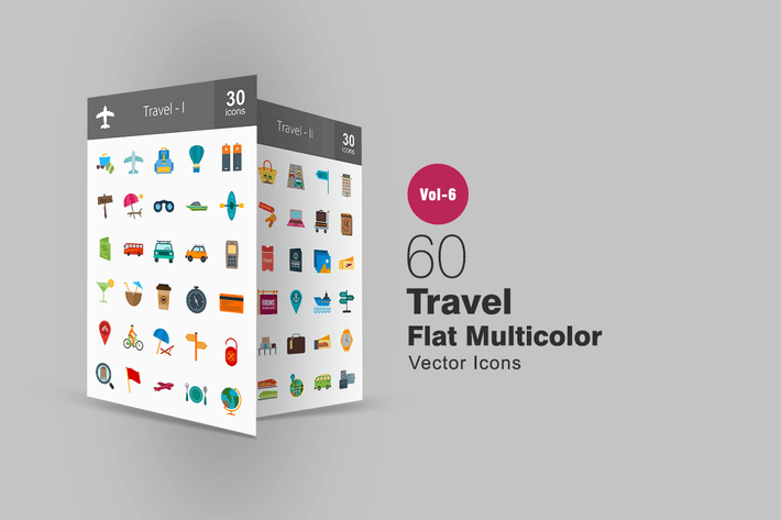 Thumbnail for 60 Travel Flat Multicolor Icons