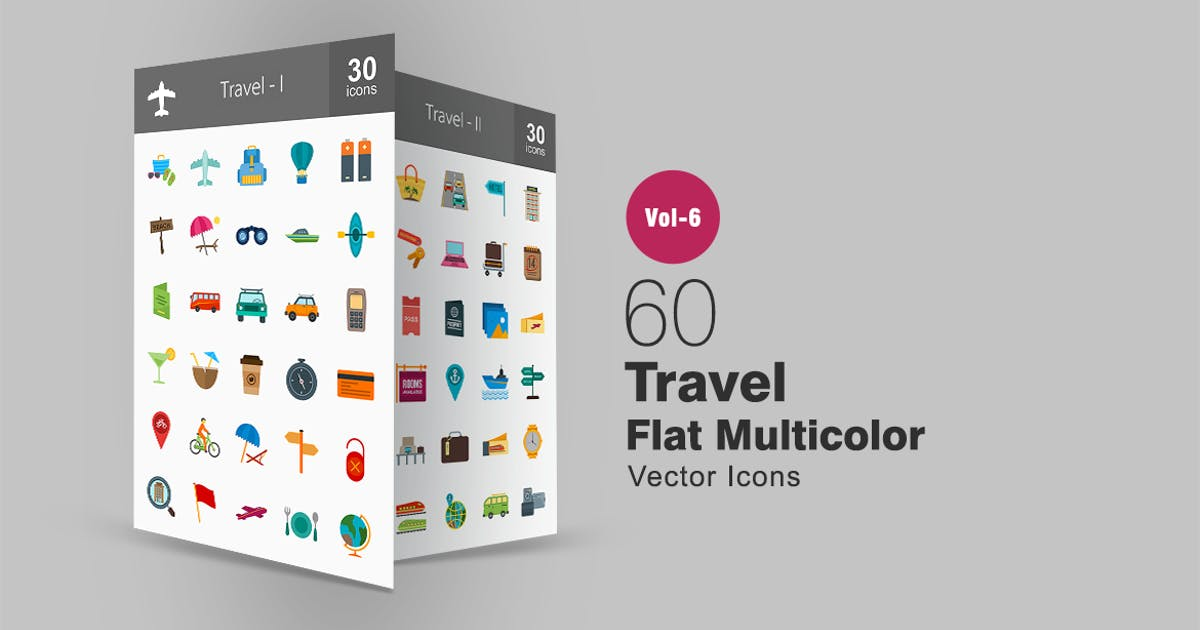 60 Travel Flat Multicolor Icons by Unknow