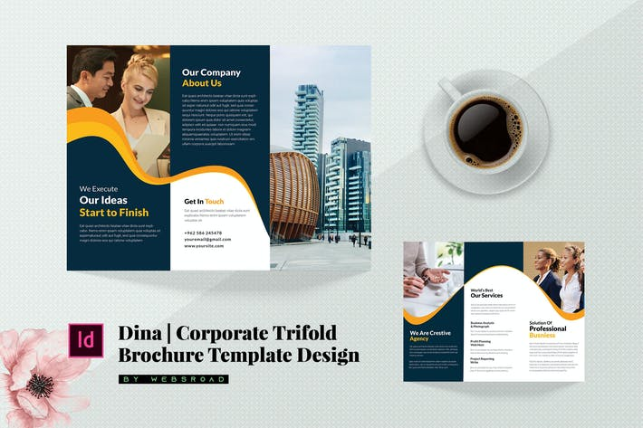 Thumbnail for Dina | Corporate Trifold Brochure Template Design