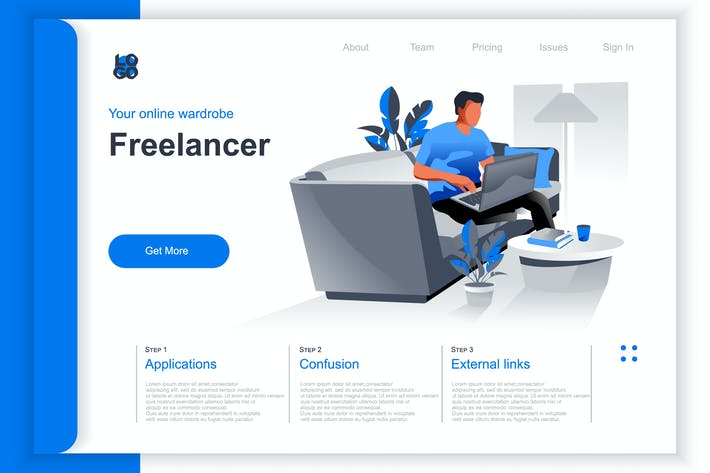 Thumbnail for Isometric Freelance Job Perspective Flat Concept