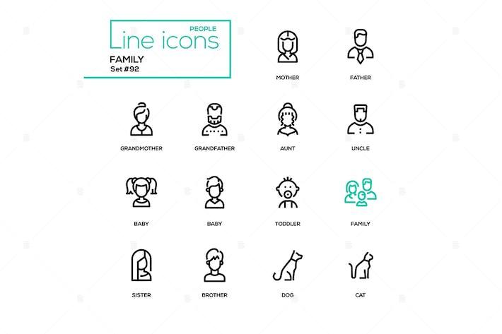 Family - modern line design icons set