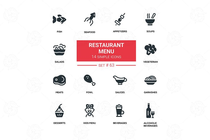 Thumbnail for Restaurant menu - line design silhouette icons set