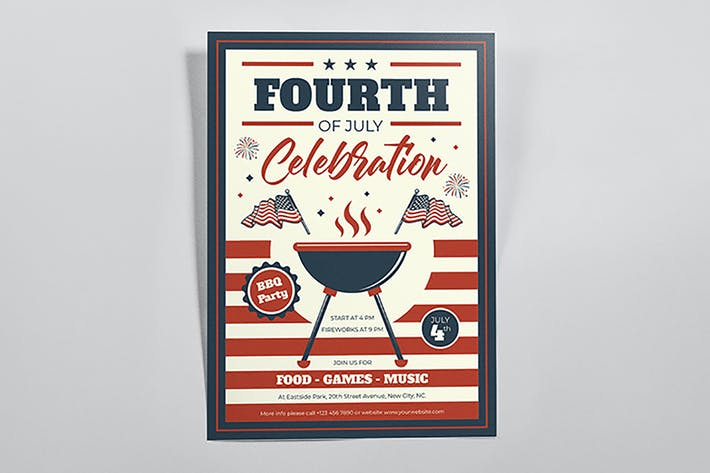 Thumbnail for BBQ Celebration Fourth of July Flyers