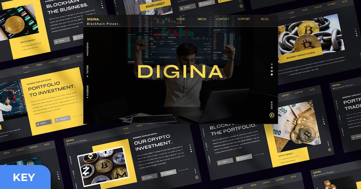 Download Digina - Crypto Keynote Presentation Template by Creavora